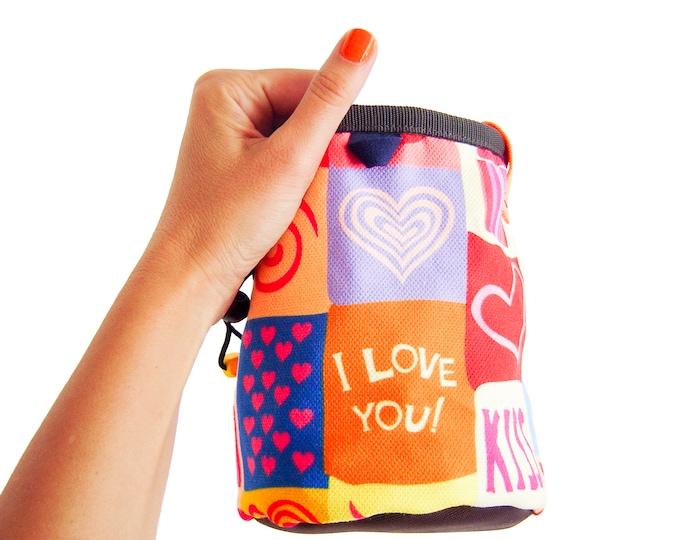 Big Climbing Chalk Bag Designs, Big Climbing Chalk Bag Handmade, Climbing Chalk Bag Funny and Funky. Indoor and Rock Climbing Gear XL Size