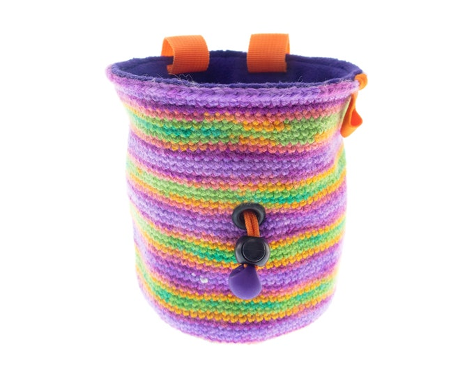 Handmade Chalk Bucket Attach Harness, Bouldering Bag, Pink Yarn Chalk Bag for Rock Climbing. M Size