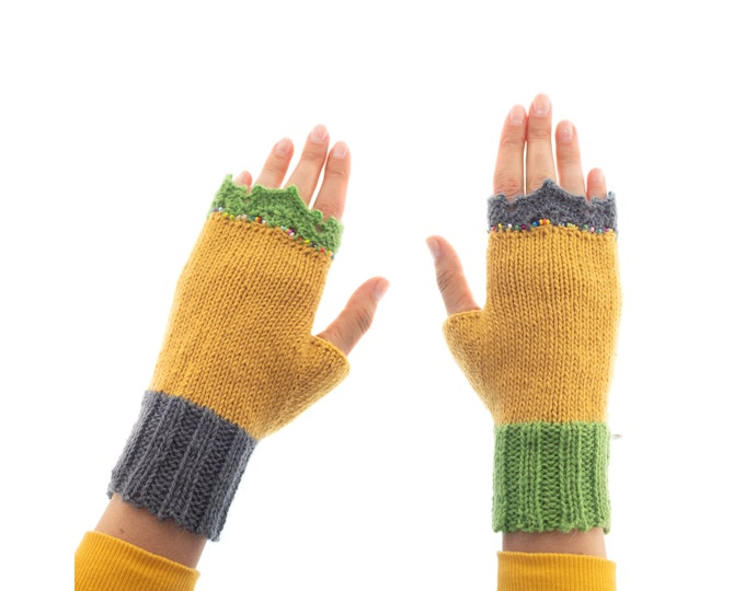 Gloves Womens, Best Mittens for Women for Dog Walking, Driving, Hiking at Cold Weather. Asymmetrical Crochet Yellow Yoga Fingerless Gloves