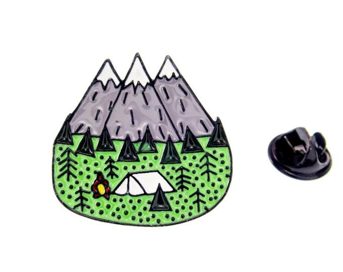 Mountain Brooch Enamel Pin, Mountain Brooch Jewelry, Mountain Jewelry Travel Themed Tent Camper Brooch