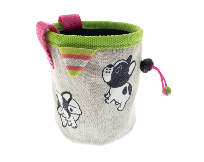 Climbing Kids Chalk Bag, Rock Climbing Bouldering Youth Chalk Bag with Dogs, Toddler Child Indoor Gym Chalk Bag. S Size
