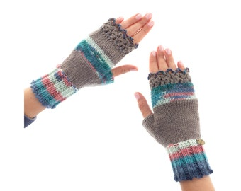 Mittens Fingerless Gloves, Cashmere Fingerless Mittens, Womens Ladies Youth Crochet Wool Mittens and Gloves for Winter, Hand Knitted