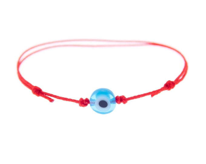 Kabbalah Bracelet with Evil Eye, Amulet Kabbalah Bracelet, Kabbalah Cord Bracelet Red String Cord. Unisex and Mens Bracelet for Luck. 0.8 mm