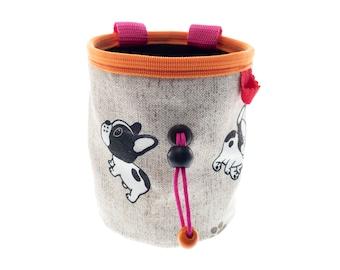 Rock Climbing Gear Chalk Bag, Cute Funny Bouldering Canvas Chalk Pot, Handmade Coolest Funky Climber Gift Idea. M Size