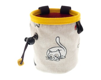 Chalk Bag Junior, Small Rock Climbing Magnesium Bag, Kids Chalk Bouldering Pouch on Harness with Cats. S Size
