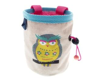 Climbing Chalk Pouch. Cool Owl Rock Climbing Chalk Bag, Cute Canvas Boulder Chalk Pot Equipment. M Size