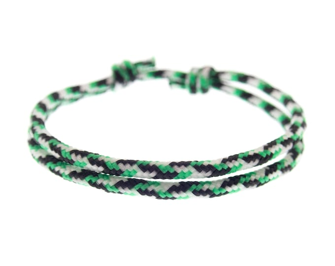 Wristband for Guys, Stylish Mens Black Gym Bracelet, Cool Rope Men's Jewelry Wrist Band for Male and Female. 2 mm