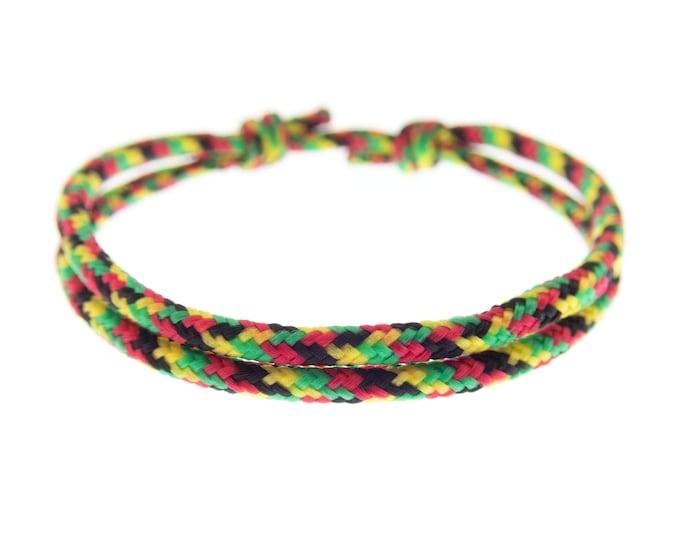 Bob Marley Bracelet, Reggae Music Colors Friendship Paracord Jewelry, Adjustable String with Knots Bracelet Homme, Women, 2 mm