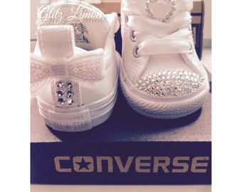 Bling Converse Baby Girl Infant Toddler Swarovski Crystal Sneakers White Pink Bow Flower Girl First Birthday Authentic Rhinestone Batism