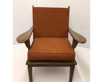 Mid Century 60s Orange Cushioned Slatted Back Paddle Arm Lounge Chair  In  The Manner Of Cushman