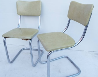 Vintage Retro Yellow Chrome and Vinyl- Lloyd Manufacturing Co. Floating Dining Room Kitchen Chair Set Pair