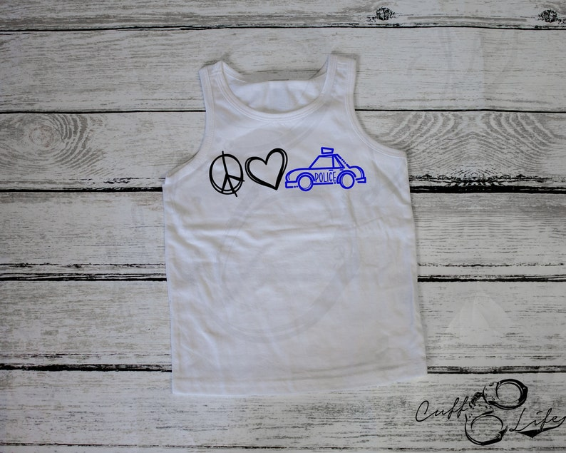 Peace Love Police Youth Tank  Thin Blue Line Youth Tank Top  Kids/' Police Shirt  Thin Blue Line Kids  TBL Kids Shirt  TBL Youth Tank