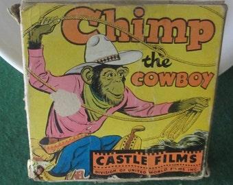 Movie Chimp the Cowboy by Castle Films #621 8 mm vintage 1940's home movie
