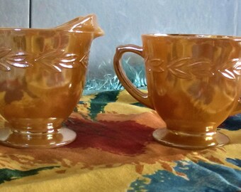 Cream and sugar bowl Fire King Oven Ware peach lustre carnival glass vintage Made in USA 1950's