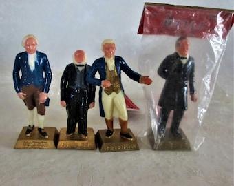 US President Figures Marx 1960's 4 miniatures vintage Van Buren, Jefferson, Tyler, Madison