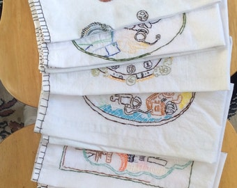 Set of 7 cotton tea towel set