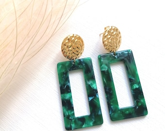 Large rectangular earrings dark green and golden 80s style with marbled pendants scale effect and hammered round nails