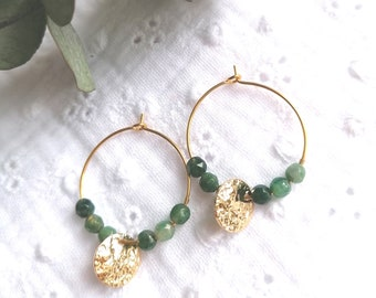 Trendy gold steel creole earrings with dark green natural stone beads and Ayla crumpled gold lozenges
