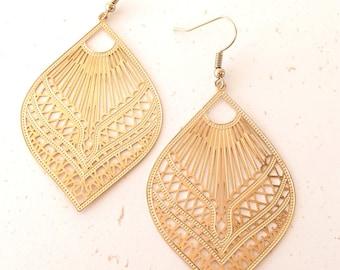 Earrings, golden, filigree, lace, leaves, gilt, geometric, kalisaya creations, jewel, trend, oriental, gift