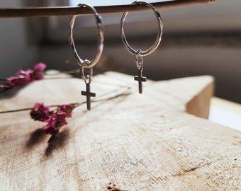 925 Sterling silver hoops earrings with crosses , Earrings of minimal style