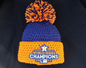 37e956236eee78 Crochet Houston Astros Adult Hat, Beanie, World Series Champions 2017,  Baseball,