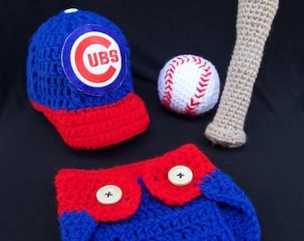 Crochet Chicago Cubs Baby Photo Prop, Newborn, Outfit, Crochet Set, Bat and Ball Rattle, Baseball Team, Sport, Photography