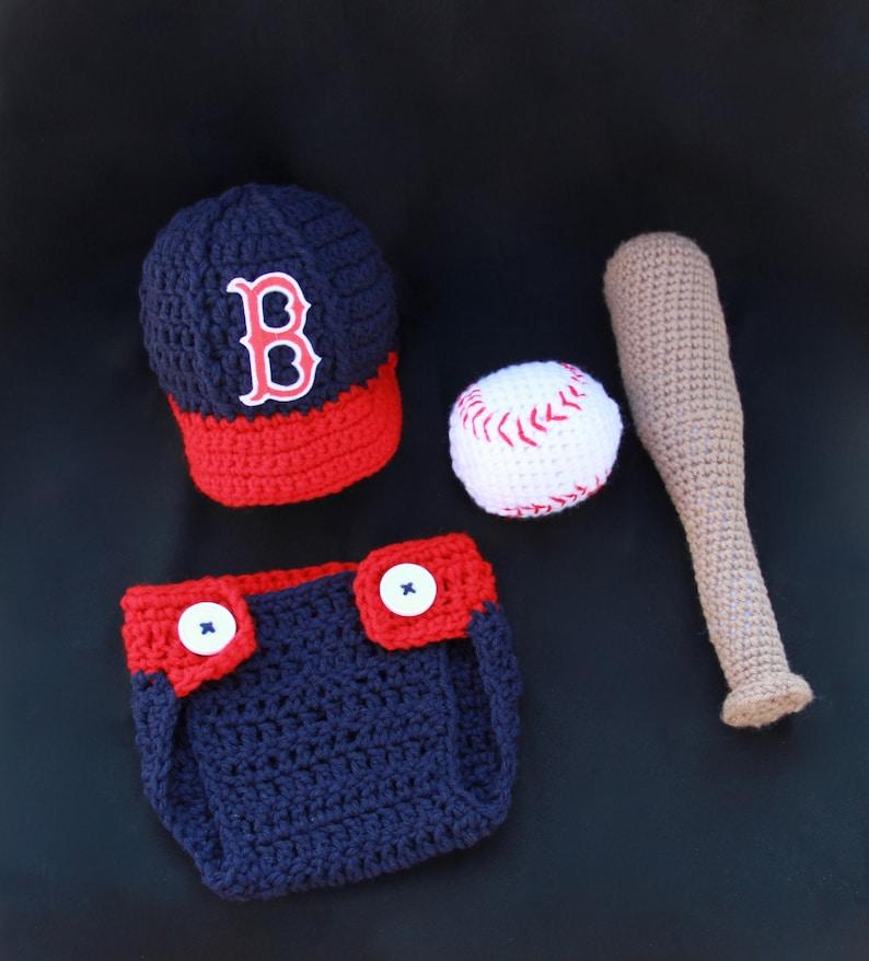 ce0e6d9d65c Crochet Boston Red Sox Baby Photo Prop