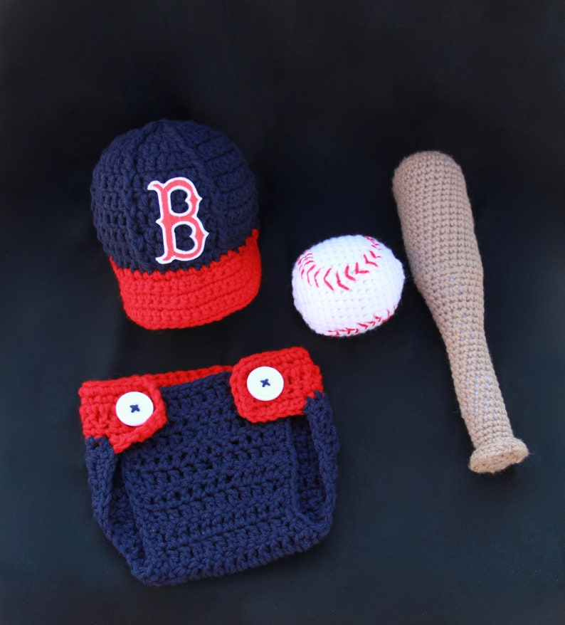 61bea01ea Crochet Boston Red Sox Baby Photo Prop | Etsy