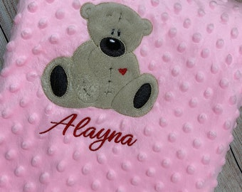 Embroidered personalised baby blanket, personalised baby wrap, available in white, pink and blue.