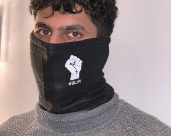 Black snood facemask, Black Lives Matter snood, neck gaiter, bandana facemask, black snood, face covering