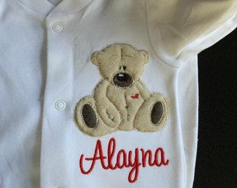 Personalised baby grow with tatty teddy motif, baby gift, newborn gift.