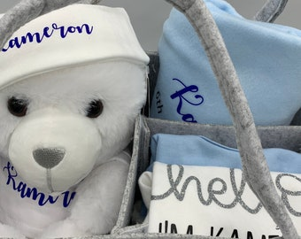 Personalised new born baby gift,  baby hamper, baby gift, luxury baby shower gift. Baby boy gift. Bag can be personalised