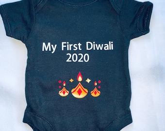 My first Diwali, Diwali  2021 Baby bodysuit, baby vest, baby grow, baby clothing, baby gift, baby onesie, baby Diwali gift, personalised