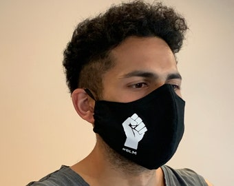 100% Cotton Black Lives Matter Face Mask, Triple Layer, Washable and Reusable, BLM Fitted Face Mask, Nose Wire