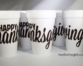 Happy Thanksgiving 10 Pack Foam Party Cups