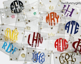 Stadium Approved Clear Cross Body Clutch Purse with Chain and Vinyl Monogram