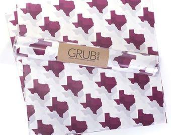 Food Basket Liner, Food Safe Wax Paper {Texas in Aggies Maroon}