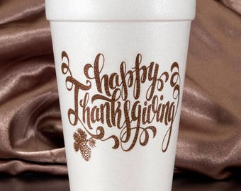 Thanksgiving 10 Pack Styrofoam Party Cups-Happy Thanksgiving in Calligraphy