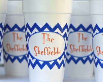 Custom Styrofoam Cups with Chevron Wrap - Two Color