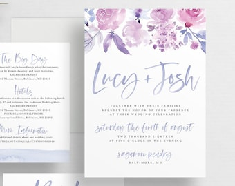 Soft Floral Watercolor Wedding Invites  Tropical Pink Floral  Brush Lettering  Semi-Custom Wedding Invitation Suite  Printed Invitations