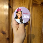 custom personalized 21st birthday party photo button // [NAME'S FINALLY LEGAL]