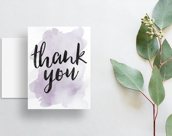 Instant Download Watercolor Splash Thank You Cards / Lavender Purple Watercolor / Brush Hand Lettering / Digital Print-at-Home File