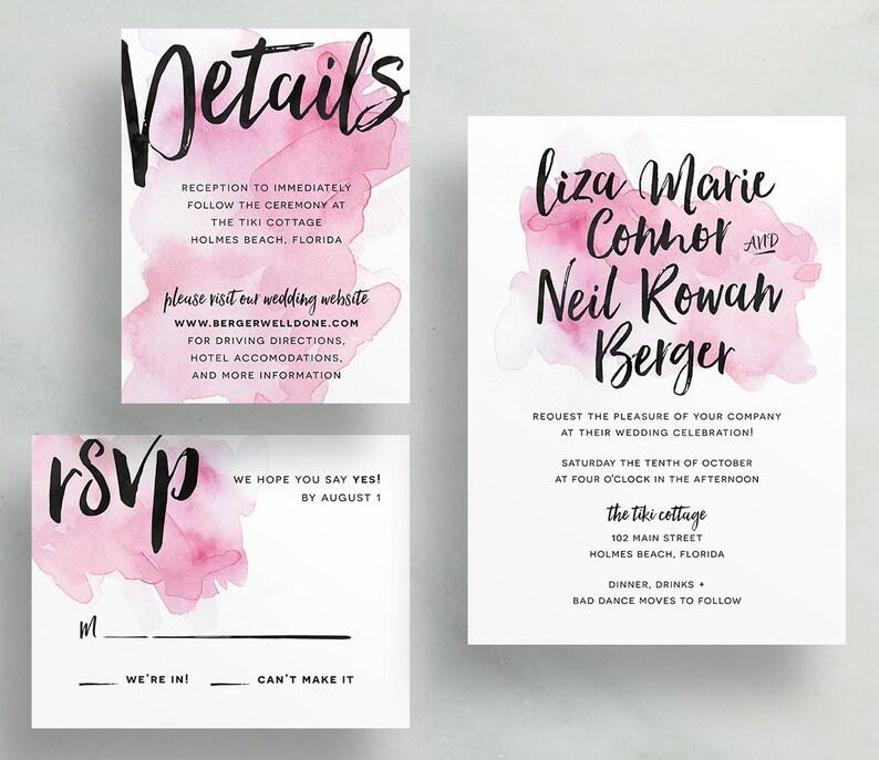 Watercolor Splash Wedding Invites / Bright Pink / Hand Brush image 0