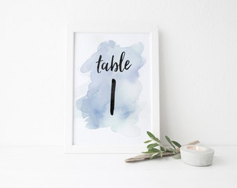 Instant Download Watercolor Splash Table Numbers / Pale Blue Watercolor / Brush Lettering / Digital Print-at-Home File Table Numbers 1-20