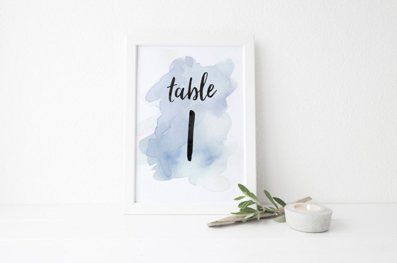 Instant Download Watercolor Splash Table Numbers / Pale Blue image 0