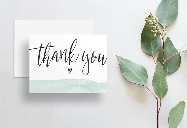 Instant Download Watercolor Dipped Thank You Cards  Light Green  Dip-Dye  Calligraphy  Printable Digital File