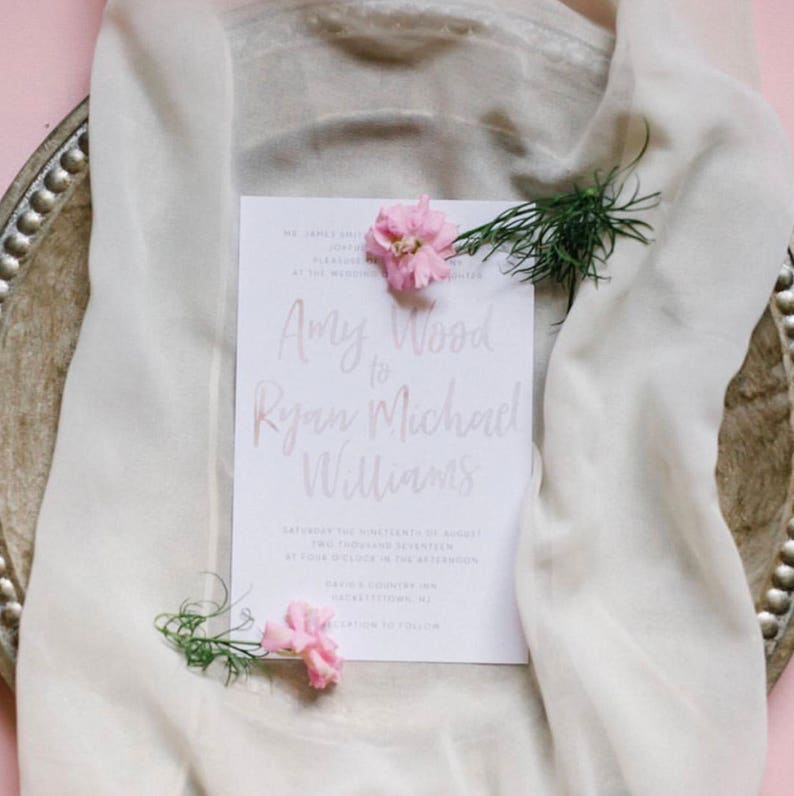 Simple Brush Lettering Wedding Invites / Pale Lilac Pink image 0