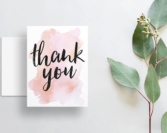 Instant Download Watercolor Splash Thank You Cards / Blush Pink Rose Watercolor / Brush Hand Lettering / Digital Print-at-Home File