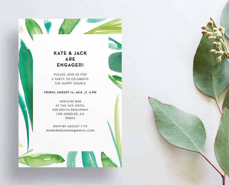 Watercolor Leaves Shower Invites / Green Leaves / Calligraphy image 0