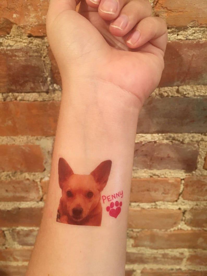 custom personalized pet PHOTO temporary tattoos // dog tattoos image 1
